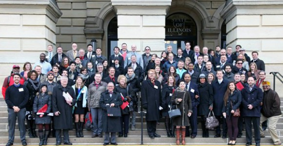 Preservation enthusiasts gathered on the stairs of the  Illinois State Capitol for AIA Lobby Day.